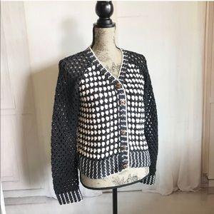 Pure Handknits crochet cardigan sweater size M/L